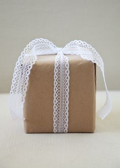 brown paper package with lace