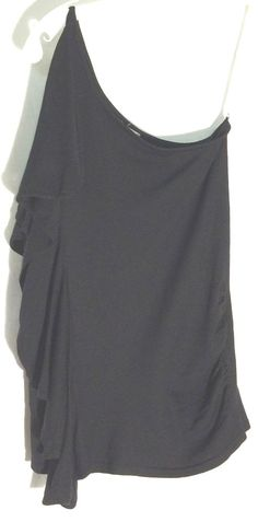 CACHE Black 55% Silk One Shoulder Knit Top - Ruched Side - Side Flounce - Small #cache #Top #black #side #oneshoulder #offshoulder #small #s
