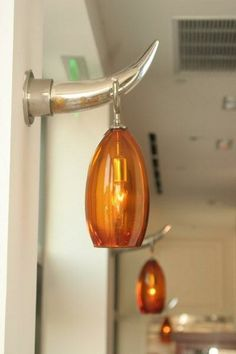 Hand Blown Lanterns with Mercury Glass Horn and Amber Glass Shade | iWorks