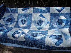 geometric twin quilt sofa throw in blues  by MooseCarolQuilts, $700.00