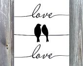 Printable art (8x10) - Birds on a wire - Silhouette - Love - Black and white printing - Instant Download - 0079