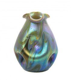 An Iridescent Glass Vase, likely Loetz Phanomen