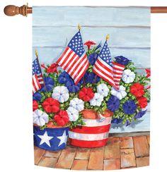 NEW Toland - Patriotic Pansies - Colorful Petunia Stars Stripes USA House Flag #TolandHomeGarden