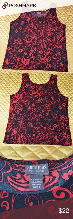 "Additions by CHICO's Red Black Abstract Tank Top This is a beautiful black & red tank by Chico's! 😍 Excellent condition with no flaws! Women's size 3  🌟🌟 MEASUREMENTS 🌟🌟  Pit to pit - 20 3/4"" Length - 20""  *If you appreciate old school quality - you're in the right place. We don't just sell items, we put time & work into them. We also ship FAST, within 1-2 business days at MOST! Thanks for visiting my Closet! 🌹🌹😊 Chico's Tops Tank Tops"