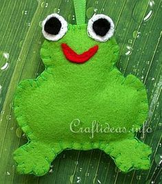 Felt Frog Ornament  This is a cute summer craft that requires less than an hour to finish. All you need is a simple cookie cutter in the sha...