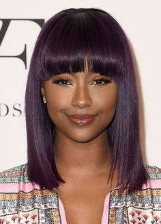 Vivacious Violet - Purple Hairstyles That Will Make You Want Mermaid Hair - Livingly Modern Hairstyles, Black Girls Hairstyles, Straight Hairstyles, American Hairstyles, Color Uva, Curly Hair Styles, Natural Hair Styles, Dark Purple Hair, Deep Purple