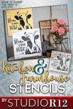 This jersey heifer inspired stencil design with cursive script words and small hearts adds a little fun to your country kitchen. StudioR12's whimsical farmhouse, country, pet and animal stencils are designed with your home in mind. We have traditional, farmhouse, rustic, boho and many more styles! Made with high-quality laser cut mylar, our stencils can be used over and over, so create your own and another to give as a gift! American made, 100% guaranteed! Quick shipping! - STCL3710 -