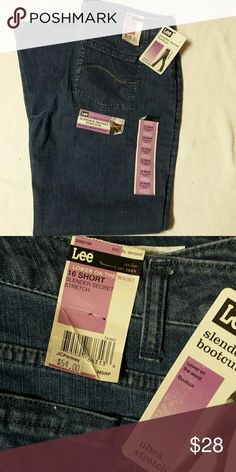 Lee bootcut jeans These jeans are the slender secret stretch bootcut style. They sit lower on the waist. They are size 16 short but the inseam is 31 inches. The waist is 18 inches with pants laying flat. These jeans are a solid blue and have none of that fading on thighs or on the butt area that so many genes seem to have these days. Lee Jeans Boot Cut