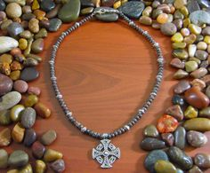 Snowflake Obsidian Solar Celtic Cross Necklace  by StarshineBeads