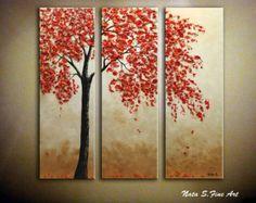 Original Art Birch Tree Painting.Modern Textured by NataSgallery