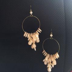 """Hoop dangling earrings in blush color Measures 2"""" wide and 4.5 long Jewelry Earrings"""