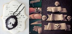 Gothic halloween cameo cookie tutorial by The Simple Sweet Life, skull banner via Craft Gossip.