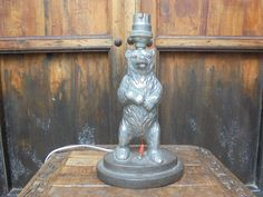 Rosie's Retreat Homestay, Udaipur@airbnb where all the treasure is for sale. 1930's iron dancing bear table lamp. 120 GBP.
