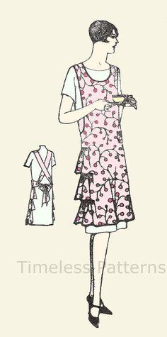 Vintage Apron Pattern Flapper Era Full Size by Vintage Apron Pattern, Aprons Vintage, Vintage Sewing Patterns, Fabric Patterns, Clothing Patterns, Apron Patterns, Flapper Era, Sewing Aprons, Textiles