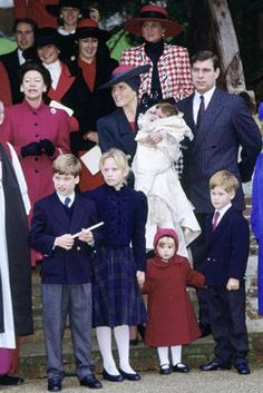 The royal cousins (Princes William and Harry, and Princesses Zara and Beatrice) at Princess Eugenie's christening in 1990.