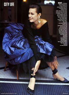 """""""City Life: The Short Choice"""", Vogue UK, November 1986Photographer: Andrea BlanchModel: Yasmin Le Bon"""