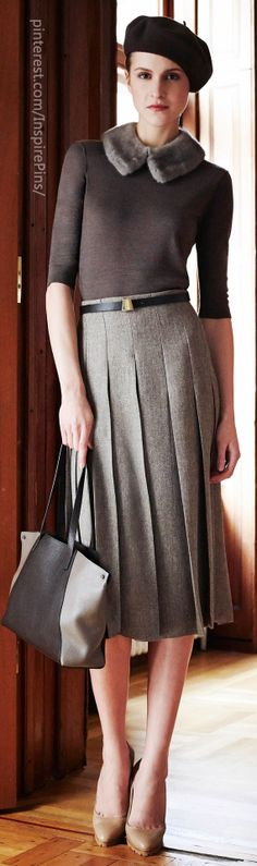 Akris Pre-Fall 2014 nice skirt and top, scrap the hat and collar.