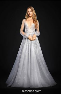 Main Image - Hayley Paige Lumi Embellished Long Sleeve Tulle Ballgown (In Stores Only)