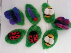 Needle felted bugs from Sarah Quick. Want to learn how? Join one of Sarah's workshops www.theblue-room.co.uk/events