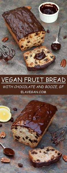 Vegan fruit cake with chocolate and booze! A perfect cake for Christmas or any other time of the year. This cake tastes rich and yummy. The easy recipe is gluten free and paleo friendly