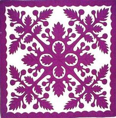 We ADORE this traditional ulu (breadfruit) pattern. Hawaiian quilts are some of the most beautiful designs around.