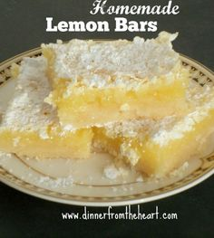 Homemade Lemon Bars | Just as easy as a box mix - but so much tastier. | Dinner from the Heart