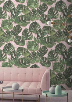 Fill your walls with a tropical vibe with this unique Monstera Wallpaper by Woodchip & Magnolia. Featuring exotic monstera leaves on a beautiful chalky pink plaster background, ideal for a feature wall.