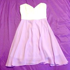 Purple & white dress Bodice is lace & can be worn w/out a bra. Shear purple layered over purple slip for skirt a'gaci Dresses Strapless