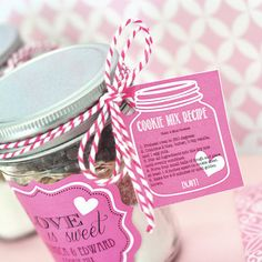 """Mason Jar cookie mix for bridal shower favors. So cute! """"Love is sweet"""""""