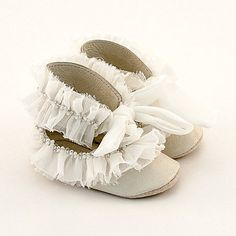 Leather baby shoes with ivory silk trim and pearls by Vibys, $60.00