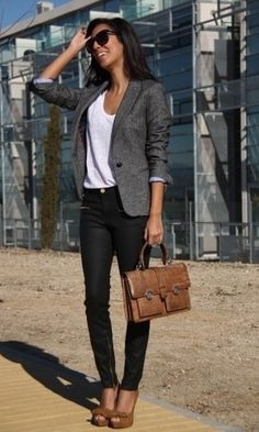 Love the bag! Replace black jeans with black dress pants for a more formal look