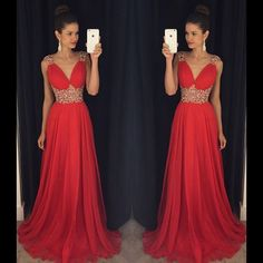 2016 Modest Red Long Prom Dresses   http://banquetgown.storenvy.com/products/15978381-2016-modest-red-long-prom-dresses-v-neck-crystals-beaded-chiffon-a-line-vint