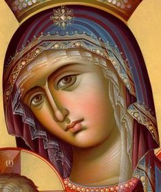 Detail of icon of The Most Holy Mother of God Blessed Mother Mary, Blessed Virgin Mary, Religious Icons, Religious Art, Russian Icons, Byzantine Icons, Byzantine Art, Lady Mary, Madonna And Child