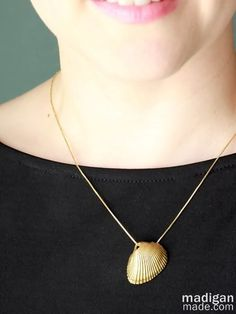 painted gold sea shell necklace - a great way to save a beach vacation memory