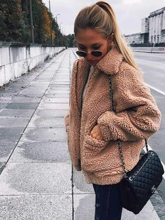 Oversized Faux Fur Teddy Bear Sherpa Coat - Women Teddy Coat - Ideas of Women Teddy - fashion teddy faux fluffy coat brown warm coat winter jackets for women fur coats jacket outfit. Extra off a MUST HAVE coat for cold monthes Winter Outfits For Teen Girls, Fall Winter Outfits, Autumn Winter Fashion, Winter Clothes, Mens Winter, Casual Winter, Winter Style, Party Outfit For Teen Girls, Cozy Winter