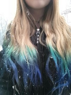 My hair color and style. #color #haircolor #crazy #cool #pretty #gorgeous #blonde #blue #tips #hairstyle #wavyhair #longhair #snow