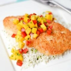 {recipe} Mild rockfish fillets, pan-fried with a coconut-breadcrumb coating. Served with mango salsa and cilantro-lime rice pilaf.