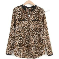 2014 New Spring All-match Self-cultivation Leopard Shirt (¥815) ❤ liked on Polyvore featuring tops, longsleeve shirt, extra long sleeve shirts, brown long sleeve shirt, wrap top and long sleeve wrap top
