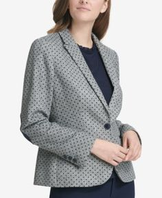 Tommy Hilfiger Dot-Print Elbow-Patch Blazer - Gray 10 Summer Business Casual Outfits, Tommy Hilfiger, Elbow Patches, Blazers For Women, Gray, Jackets, Shopping, Fashion, Ladies Blazers