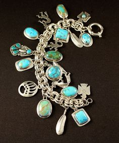 Turquoise and Sterling Silver 20-Pendant Charm Bracelet on 9.2mm Sterling Silver Rope Link Chain