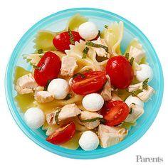 Pasta salad Roasted broccoli Berry and vanilla yogurt