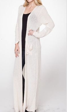 Bohemian Boho Indie Cream Ankle Length Duster Sweater Cardigan Slouchy Large #UrbanPeopleClothing #Cardigan