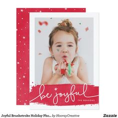 Joyful Brushstroke Holiday Photo Card A modern holiday card featuring a festive red brushstroke and joyful script. The backer includes a snowy pattern with the option to remove and swap with a personalized message or additional photos. Holiday Photo Cards, Christmas Cards, Create Your Own Invitations, Zazzle Invitations, Brush Strokes, White Envelopes, Paper Texture, Joyful, Merry