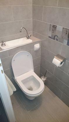 Small toilet room, tiny house bathroom, laundry in bathroom, laundry room. Toilet And Bathroom Design, Small Toilet Design, Tiny House Bathroom, Laundry In Bathroom, Bathroom Designs, Bathroom Closet, Bathroom Small, Small Downstairs Toilet, Small Toilet Room