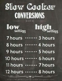 Slow-cooker/crockpot time conversions chart, via Large Family Slow Cooker Crock Pot Food, Crock Pot Slow Cooker, Crock Pots, Receitas Crockpot, Just In Case, Just For You, Slow Cooker Times, Do It Yourself Food, Menu Dieta