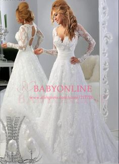 New Fashion A Line V Neck Long Sleeves Open Back White Lace Arabic Wedding Dresses 2014 Bridal Gowns BO4687 $299.00