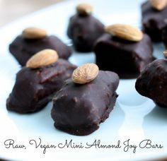 Raw, vegan mini almond joy bars. So easy, so cute!