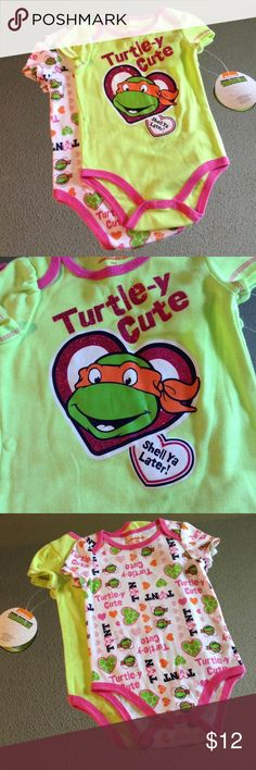 Cute baby girl ninja turtles onsies Set of 2 6-9 month teenage mutant ninja turtles onsies, I love these but I bought ahead and now it's the wrong size, so cute though, NWT Nickelodeon One Pieces Bodysuits