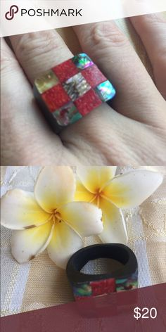 *Gorgeous coral and abalone inlay checker ring Handmade in bali gorgeous red coral and abalone checker ring size 6/7 on lacquered coco wood. Unique and beautiful inlay design! handmade Jewelry Rings