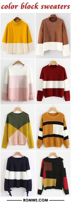color block sweaters 2017 - romwe.com